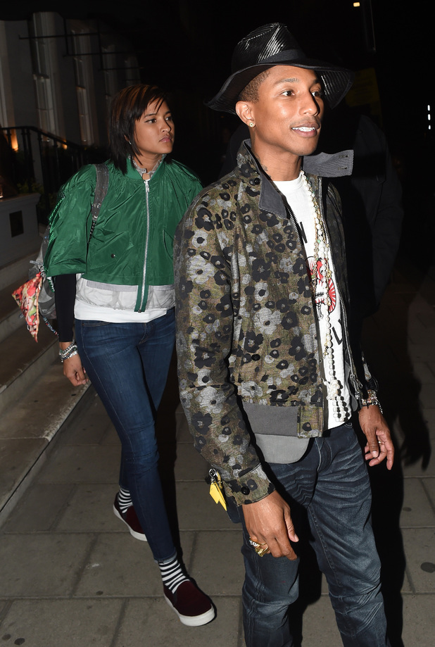 Singer Pharrell Williams is pictured leaving 34 restaurant in mayfair london wearing another different style hat. 05/22/2014 London, United Kingdom