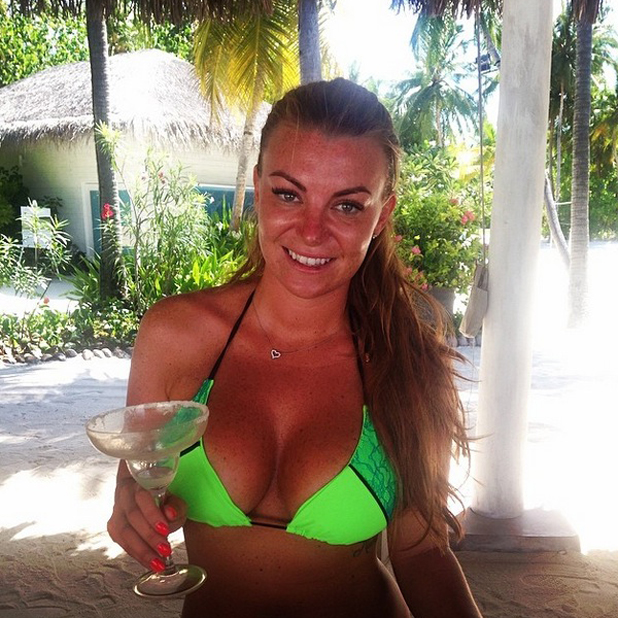 Billi Mucklow and Andy Carroll enjoy a holiday in the Maldives, 20 May 2014