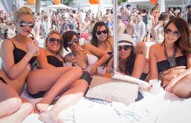Frankie Sandford and her friends including sister Victoria celebrate her hen do at Ocean Beach Club Ibiza's Opening, 23 May 2014