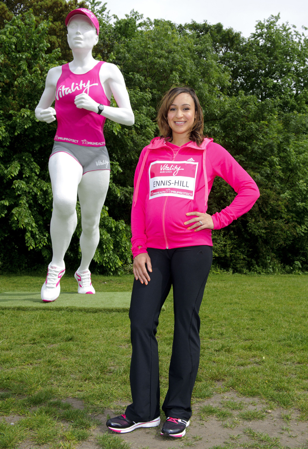 Jessica Ennis-Hill unveils a giant female runner statue to launch the Vitality Run Series in Battersea Park, London, Britain - 21 May 2014