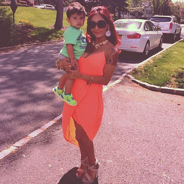 Snooki and son Lorenzo enjoy a day in the sunshine in New Jersey, May 2014
