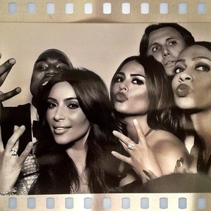 Newlyweds Kim Kardashian and Kanye West pose for a photo with Kim's close friend La La Anthony and Jonathan Cheban after wedding in Florence, Italy - 24 May 2014