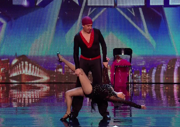 Dancers Paddy Jones and her partner Nico Espinosa audition for 'Britain's Got Talent'. After their performance Amanda pressed the Gold Button putting them straight through to the final. 14 April 2014.