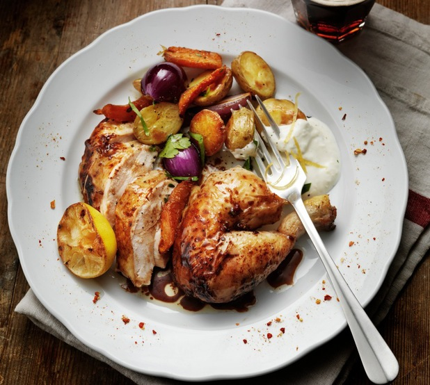 Roasted chicken with yoghurt, lemon zest and salad