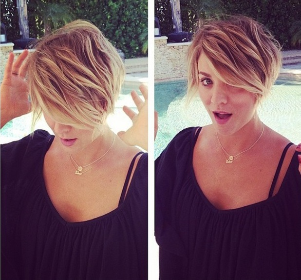 Kaley Cuoco has her hair cut by Christine Symonds at the Byron