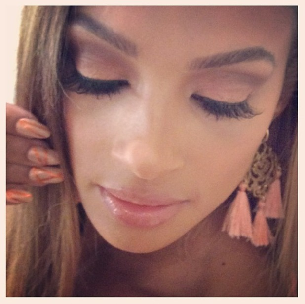 Alesha Dixon shows off her peachy nails and make-up backstage on a photoshoot, 27 May 2014
