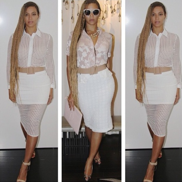 Beyoncé shows off long braided hair while wearing white two-piece by Rare London - 28 May 2014