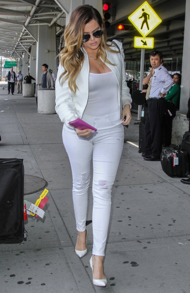 Khloe Kardashian arrives at John F. Kennedy International Airport in New York, America - 26 May 2014