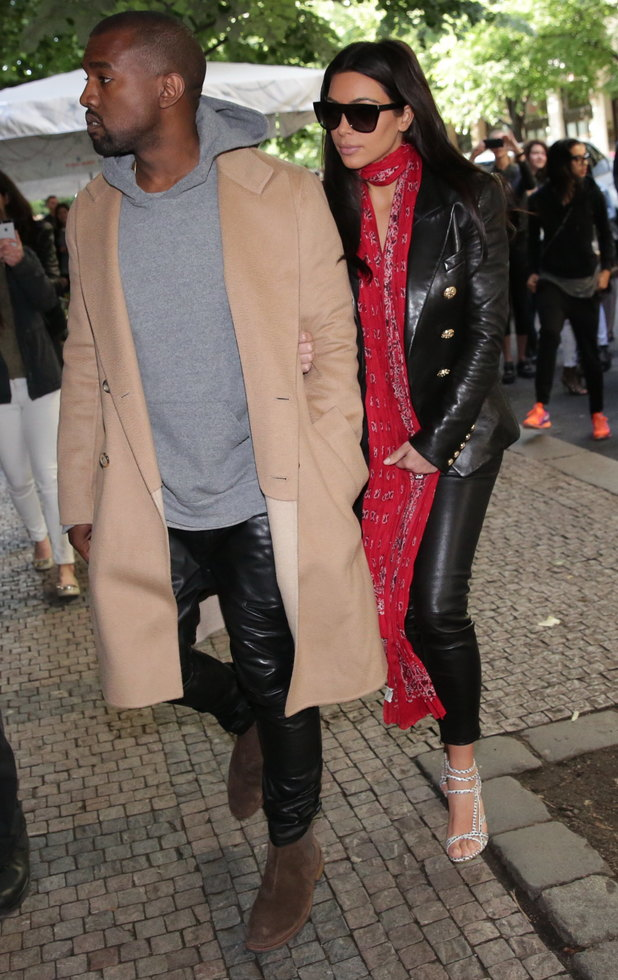 Kim Kardashian and Kanye West shopping at a luxury boutique in Prague, 30 May 2014