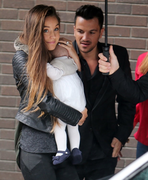 Peter Andre and girlfriend Emily MacDonagh with baby Amelia outside ITV Studios today, 27 May 2014
