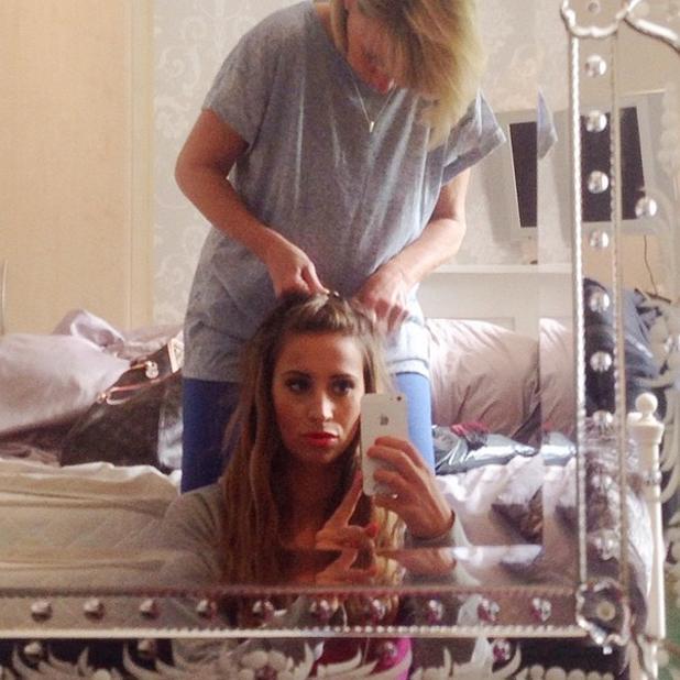 Ferne McCann's mum plaits her hair, 29 May 2014