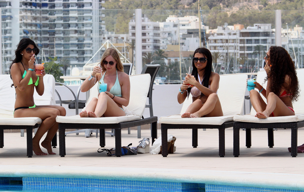 TOWIE's Jasmin Walia pictured poolside at TBH Ocean Beach Hotel in Ibiza, May 2014