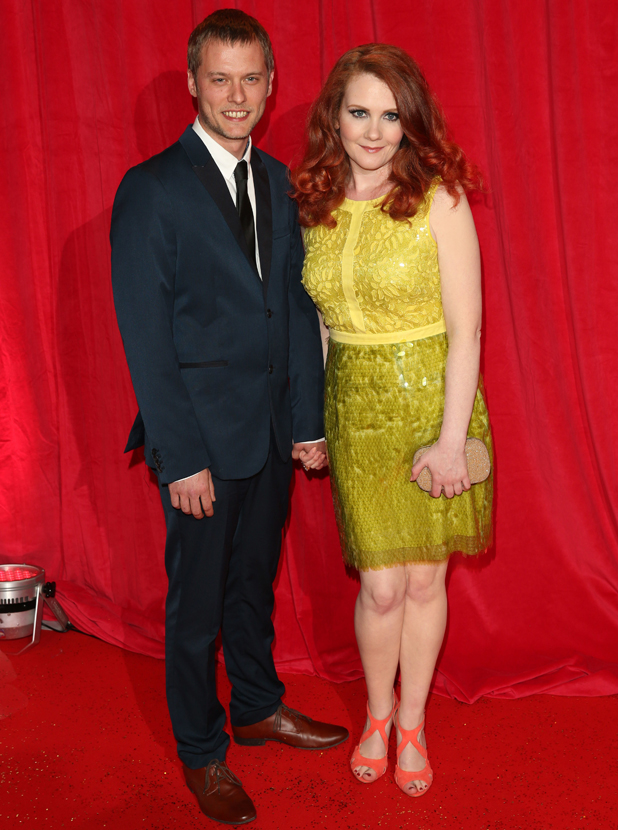 Jennie McAlpine and partner Chris at the British Soap Awards 2014 three days after Jennie announced her pregnancy, 24 May 2014
