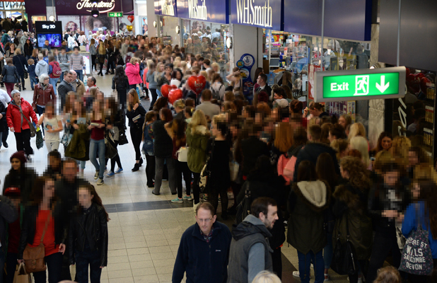Fans queue to meet Joey Essex as he signs copies of his book 'Being Reem' at WH Smith in the Manchester Arndale Shopping Centre, 28 May 2014