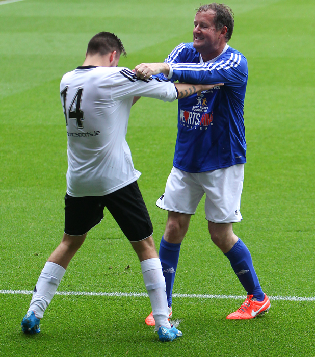 Piers Morgan and Liam Payne. One Direction host a football match to raise funds for Irish Autism Action at King Power Stadium in Leicester, 26 May 2014