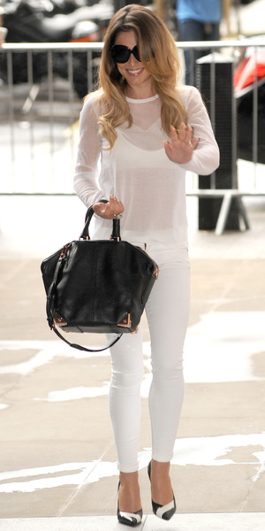 Cheryl Cole arrives at Radio 1 in London wearing all white - 2 June 2014