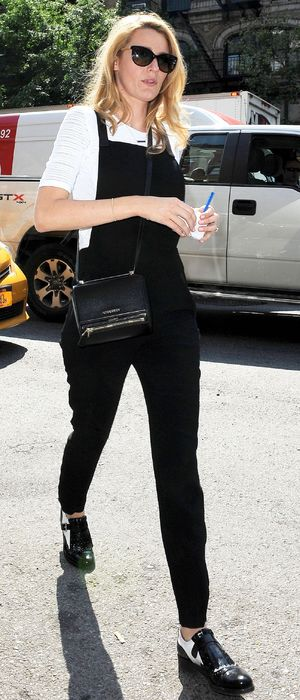 Blake Lively wears black dungarees while out in NoHo, New York, America - 3 June 2014