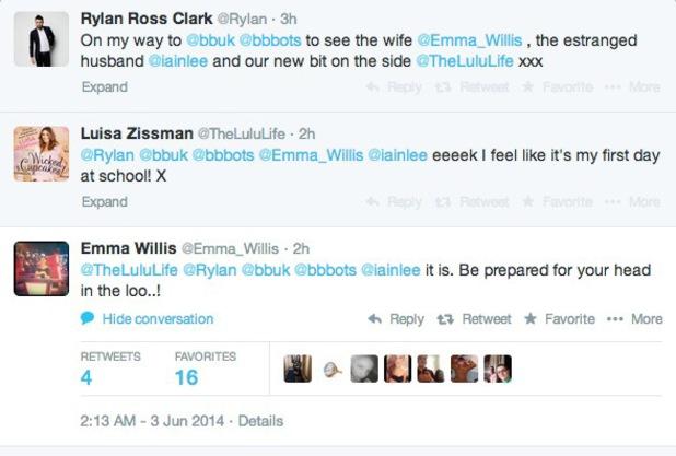 Twitter conversation between Rylan Clark, Emma Willis and Luisa Zissman ahead of BB launch, Twitter - 3 June