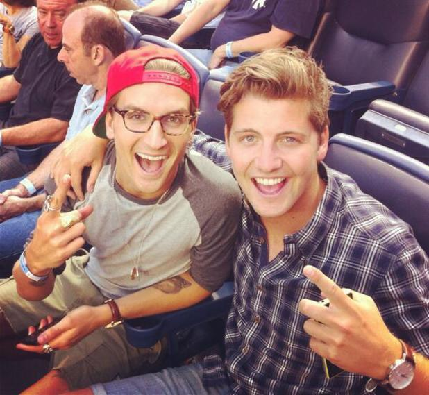 Made In Chelsea stars Stevie Johnson and Oliver Proudlock attend a baseball game in New York.