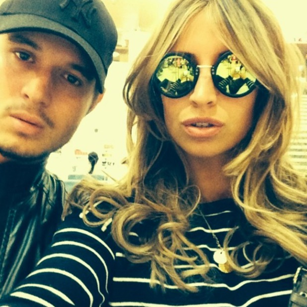 Ferne McCann and Charlie Sims share selfie on way to Marbella, 7 June 2014