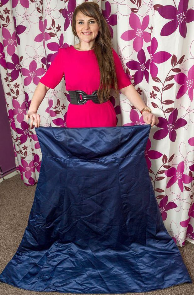 Stacey Smith with bridesmaid dress after she lost 13st