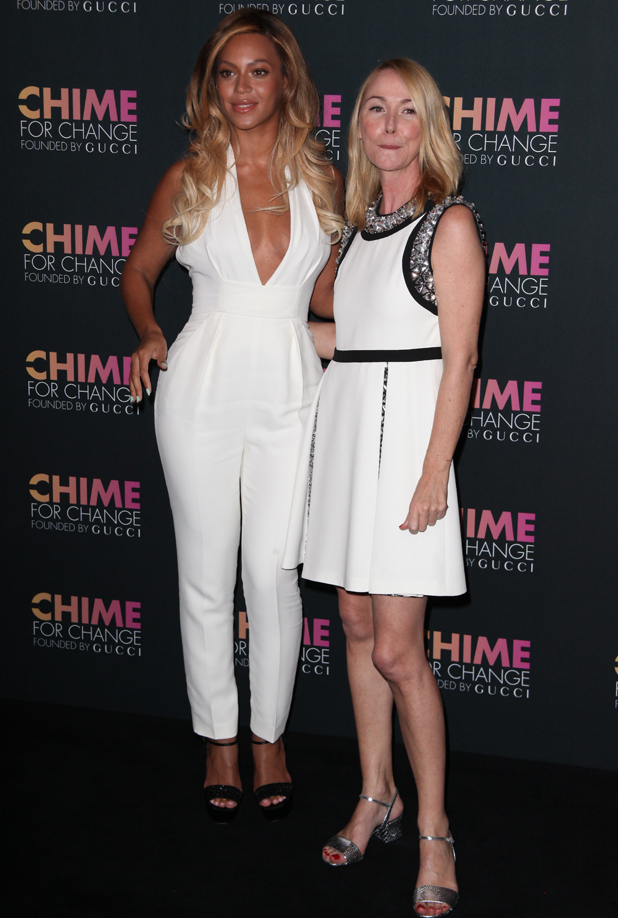 Beyonce and Frida Giannini at Chime For Change one-tear anniversary event at the Gucci flagship store, 3 June 2014