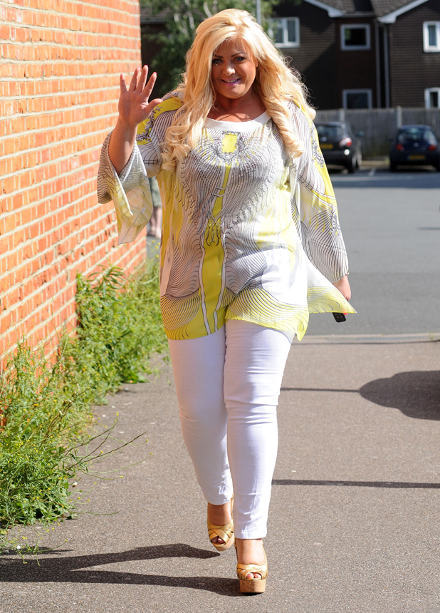 Gemma Collins pictured in Essex arriving at her shop sporting a new slim line figure, 5 June 2014