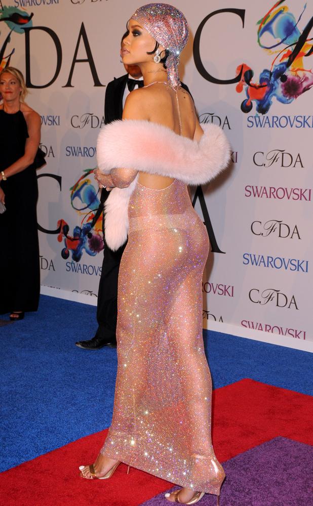 Rihanna bares her boobs in see-through Adam Selman dress at 2014 CFDA Fashion Awards, New York, America - 02 Jun 2014
