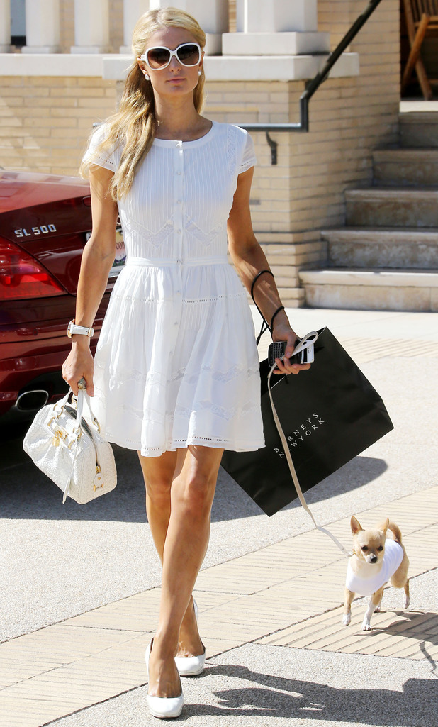 Paris Hilton and Peter Pan wear white outfits while shopping at Barneys New York in Los Angeles, America - 12 June 2014