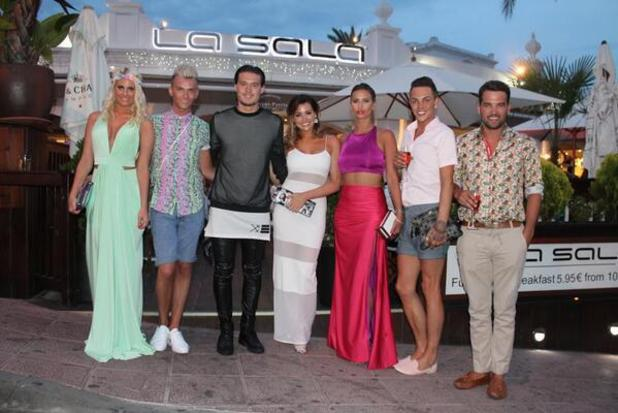 TOWIE cast dine out at La Sala restaurant in Marbella, Spain. (10 June).