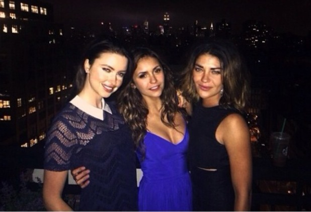 Made In Chelsea's Emma Miller hangs out with A-list pals Nina Dobrev and Jessica Szohr in New York (11 June).
