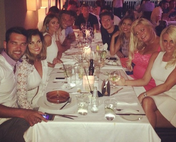 Chloe Sims shares picture of 'TOWIE Elite' at a meal together - 9 June 2014