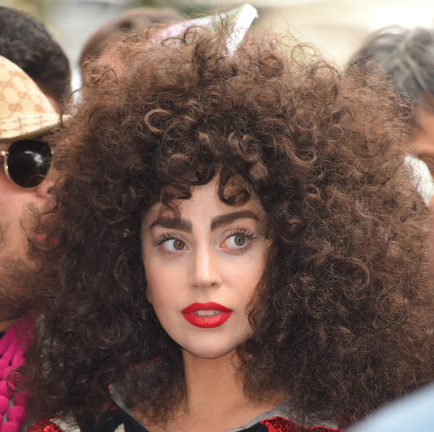 Lady Gaga out and about with crazy brunette Afro hair, New York, America - 06 Jun 2014