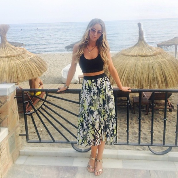 Lauren Pope wears a palm tree skirt from her new clothing collection for InTheStyle.co.uk while in Marbella, Spain - 11 June 2014