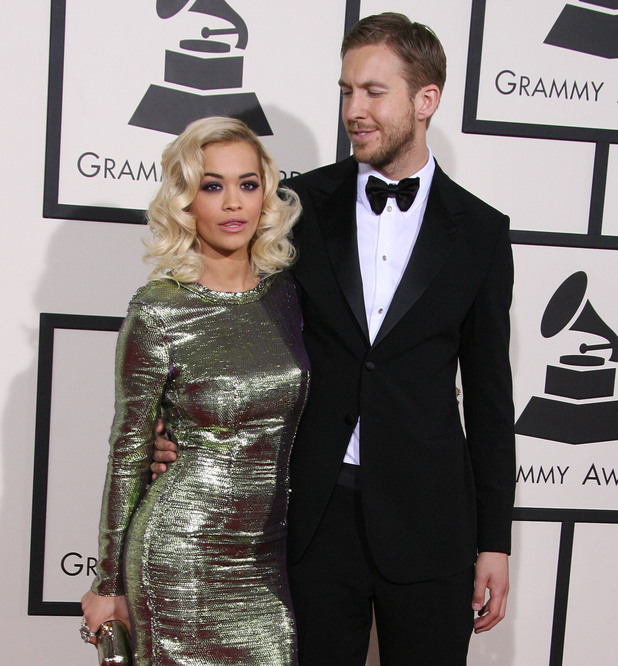 Rita Ora and Calvin Harris - The 56th Annual GRAMMY Awards (2014) held at the Staples Center in Los Angeles. 01/26/2014. Los Angeles, United States.