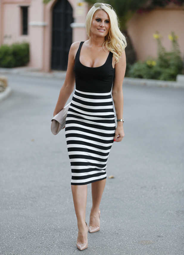 TOWIE's Danielle Armstrong wears a monochrome striped dress while out in Marbella, Spain - 8 June 2014