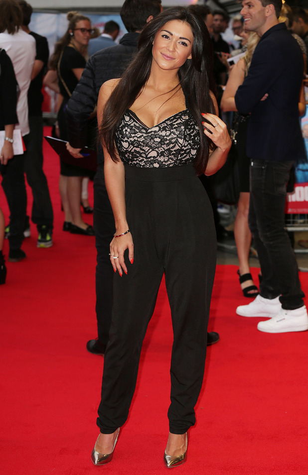 Casey Batchelor wears a black lace jumpsuit while attending the premiere of The Hooligan Factory in London, England - 9 June 2014