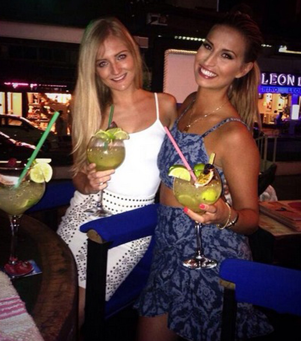 TOWIE's Ferne McCann has a night out with a friend in Marbella 11 Jun 2014