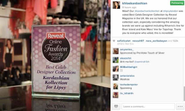 Khloe Kardashian thanks Reveal readers after Kardashian Kollection at Lipsy wins Best Celeb Designer Collection at Reveal Online Fashion Awards 2014.
