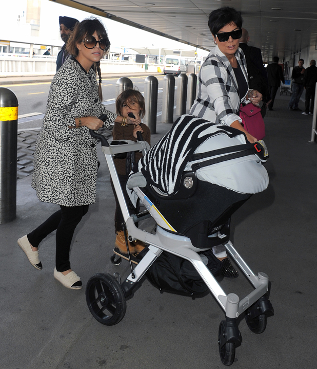 Kourtney Kardashian, Kris Jenner and Mason Disick fly out of Heathrow Airport, having spent just 24hrs in the country, April 2014