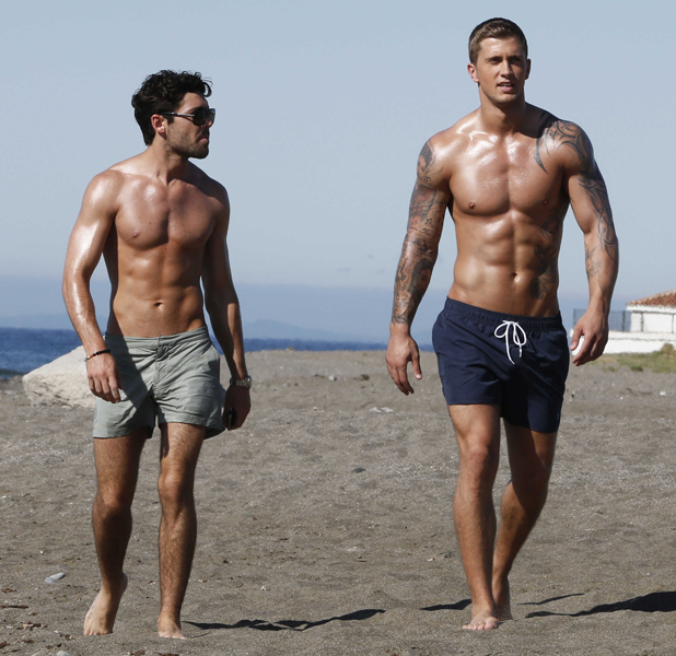 Tom Pearce and Dan Osborne on the beach, 'The Only Way Is Essex' cast in Marbella, Spain - 08 Jun 2014