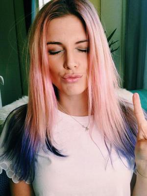 Ashley James rocks new pink, blue and purple, rainbow hair, 17 June 2014
