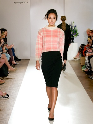 TOWIE's Ferne McCann attends the AW14 George catwalk show and sits front row (18 June).