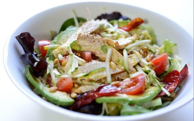Warm chicken salad with avocado