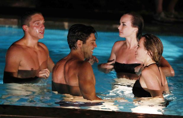 'The Only Way Is Essex' cast at the 'boys villa', Marbella, Spain - 11 Jun 2014. Lewis Bloor and Tom Pearce in the swimming pool with Imogen Leaver and Robyn Althasen.