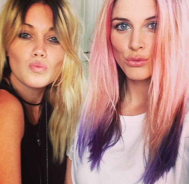 Ashley James shows off Fudge and Crazy Color pink and purple hair dye as she gets her hair coloured, 17 June 2014
