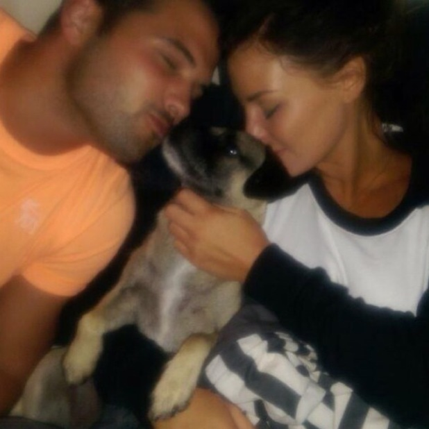 TOWIE's Jessica Wright and Ricky Rayment cuddle up to their dog Blakey - 19 June 2014