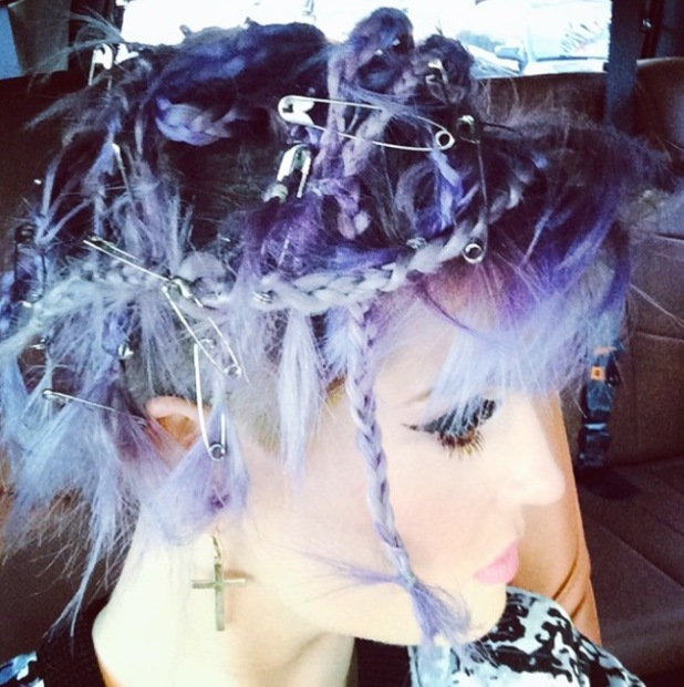 Kelly Osbourne shares picture of her hair, plaited and with safety pins - 20 June 2014