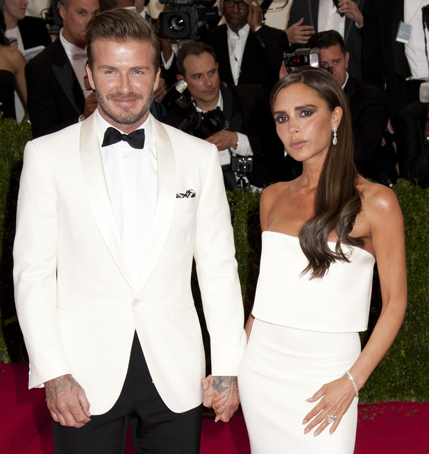 David Beckham and Victoria Beckham at the 'Charles James: Beyond Fashion' Costume Institute Gala at the Metropolitan Museum of Art - Arrivals - 5/5/2014.