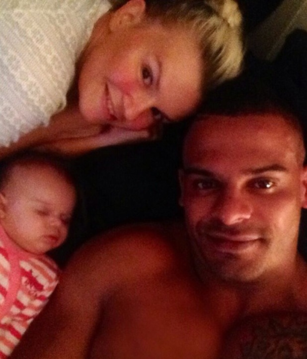 Kerry Katona cuddles up to fiance George Kay and daughter DJ Rose in bed - 18 June 2014